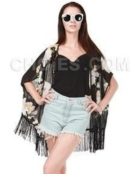 Choies black floral chiffon kimono coat with tassels medium 64258