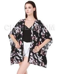 Choies black vintage floral sunscreen kimono coat medium 64259