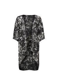 New Look Black Floral Print Longline Kimono