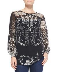 Fuzzi long sleeve floral print blouse medium 128388