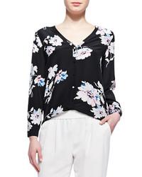 Joie Michi Floral Print Silk Blouse