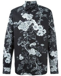 Black and White Floral Long Sleeve Shirt