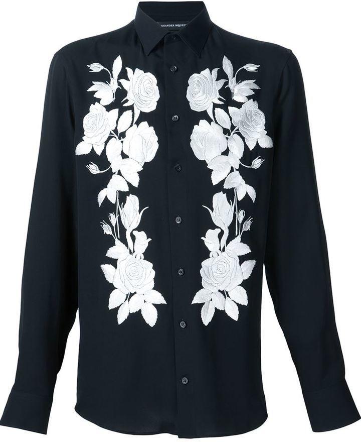 Short Sleeve Stripes Floral Embroidered Shirt ...