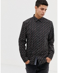 Esprit Slim Fit Shirt With Ditsy Flower In Black
