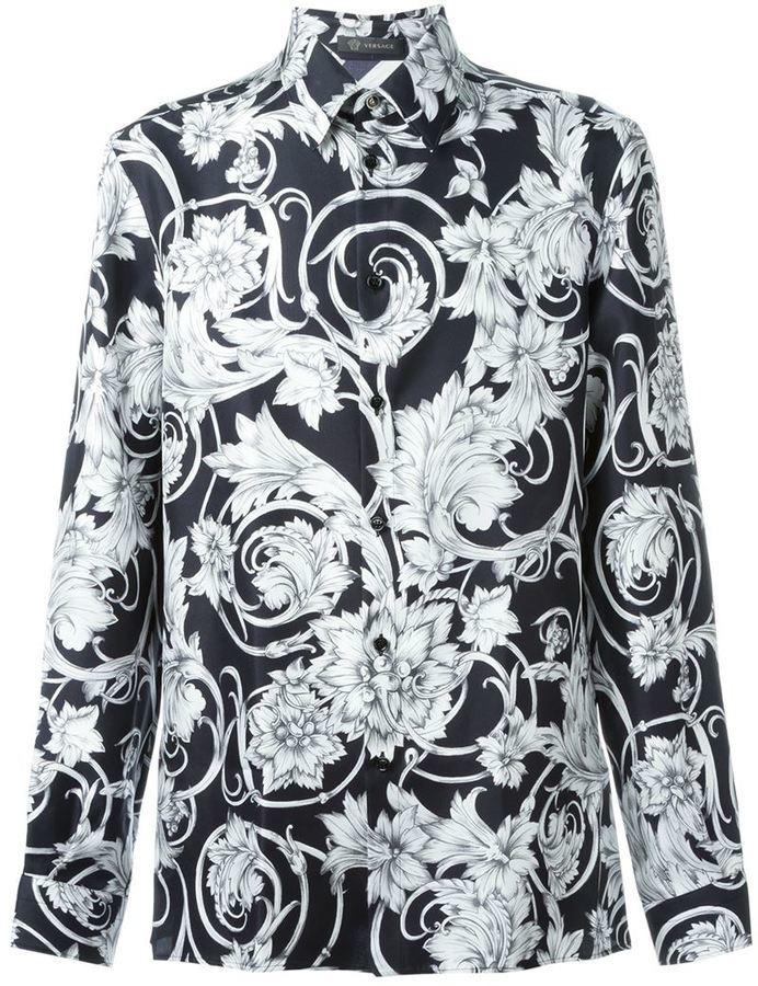 a0da1c3e Versace Floral Print Shirt, $796   farfetch.com   Lookastic.com