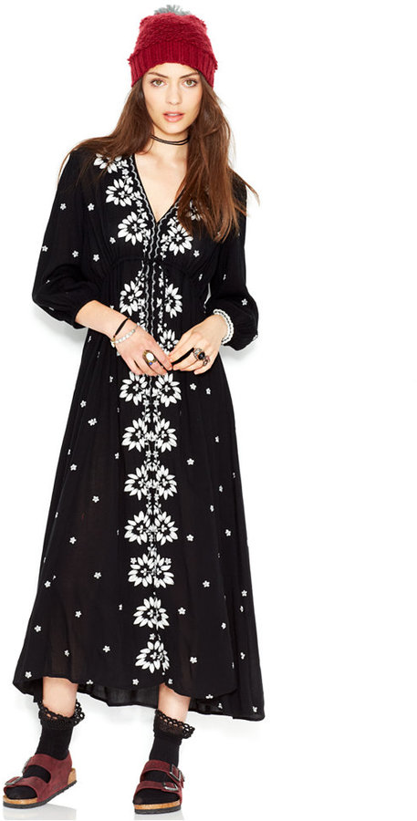 bbd5360767ad Free People Three Quarter Sleeve Embroidered Maxi Dress, $168 ...