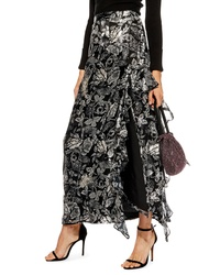 Topshop Feather Embellished Floral Maxi Skirt