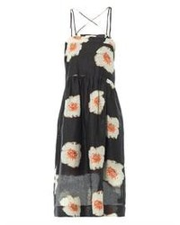 Black and White Floral Midi Dress