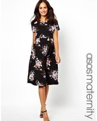 Asos Maternity Midi Skater Dress With Large Floral