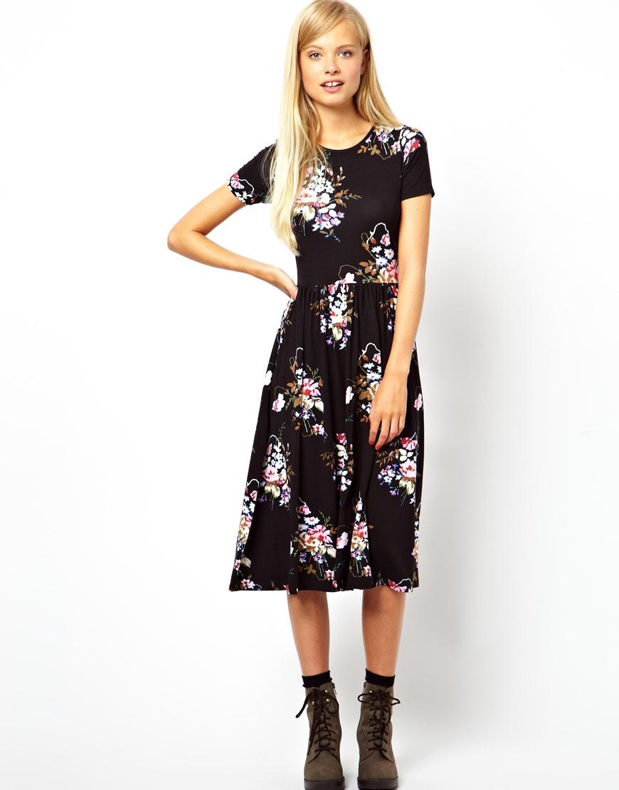 0bb292a5318f ... Black and White Floral Midi Dresses Asos Midi Skater Dress In Vintage  Tapestry Floral
