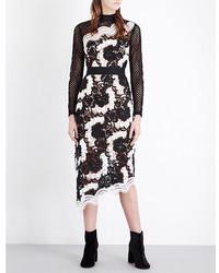 Self-Portrait Asymmetric Guipure Lace Midi Dress