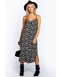 Boohoo Tammy Floral Button Through Midi Column Dress