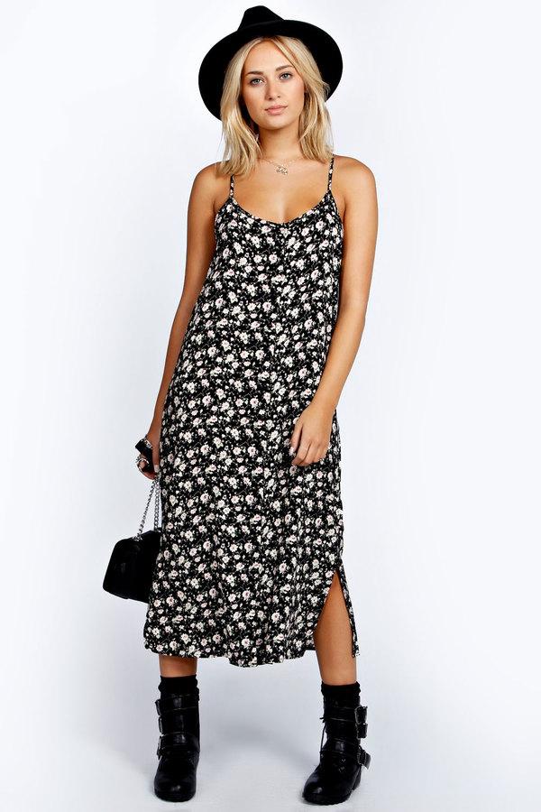 0a2fbecdb56b Boohoo Tammy Floral Button Through Midi Column Dress, $30 | BooHoo ...