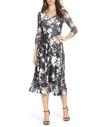 Komarov Sheer Sleeve Floral Print Charmeuse A Line Dress