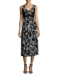 Sleeveless floral print midi dress medium 3644557