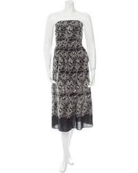 Tibi Strapless Embroidered Midi Dress W Tags
