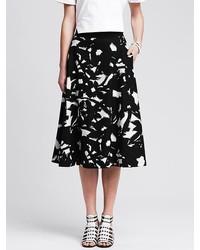 Banana Republic Black Floral Midi Skirt