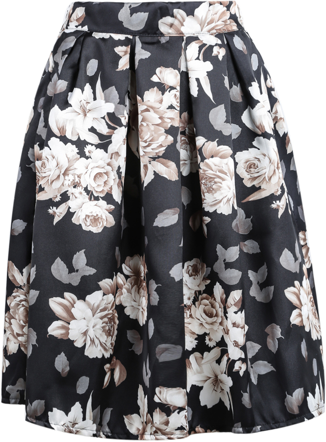 Black Floral Print Midi Skirt | Where to buy & how to wear
