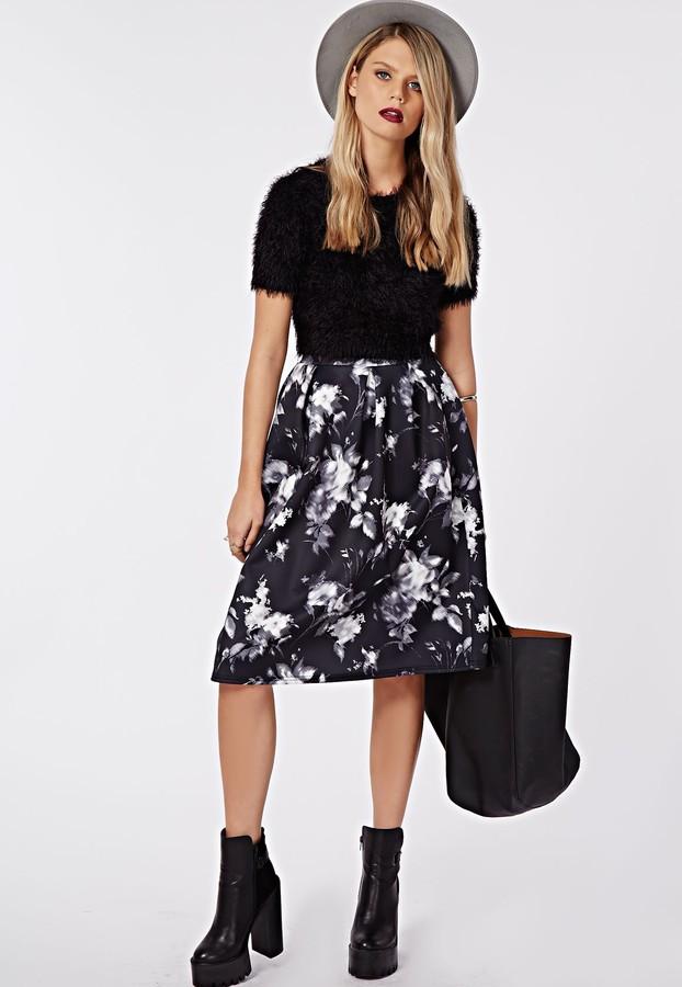 Missguided Sophriona Blurred Floral Print Full Midi Skirt Black ...