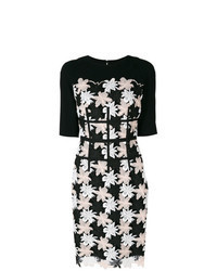Black and White Floral Sheath Dress