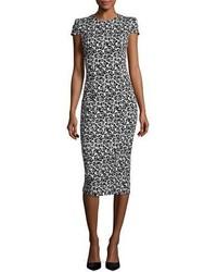 Michl kors collection cap sleeve floral jacquard sheath dress blackwhite medium 4473329