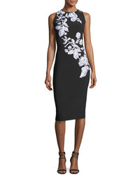Sleeveless metallic floral stretch crepe cocktail dress blackwhite medium 4473336