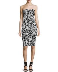 Strapless floral jacquard party dress blackwhite medium 4473338