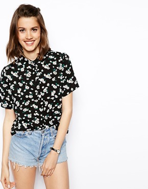47975f0c6be ... Asos Collection Short Sleeve Boxy Blouse In Mono Floral Print ...