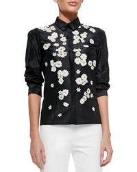 Kathie Lee Collection Embroidered Short Sleeve Lapel Collar Button Down  Shirt White ...