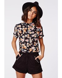 Missguided Kattanye Short Sleeve Floral Boyfriend Shirt Orange