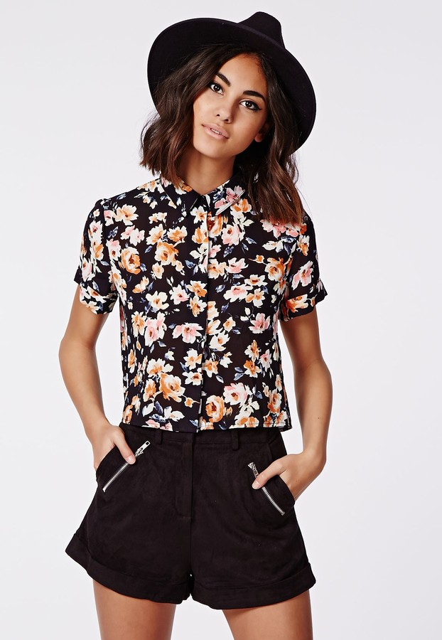 Black And White Floral Short Sleeve Button Down Shirt