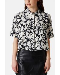 Topshop Mono Floral Shirt