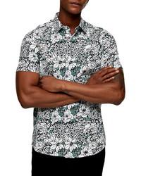 Topman Slim Fit Floral Print Short Sleeve Button Up Shirt