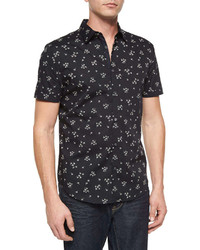 John Varvatos Star Usa Floral Printed Short Sleeve Sport Shirt Black