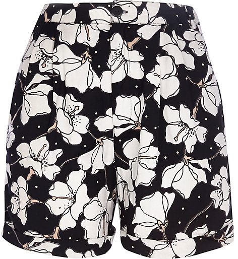 River Island Black And White Floral Print Casual Shorts | Where to ...