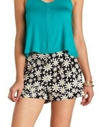 Charlotte Russe Cuffed Daisy Floral Print Shorts