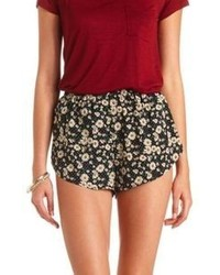 Charlotte Russe Daisy Print High Waisted Dolphin Shorts