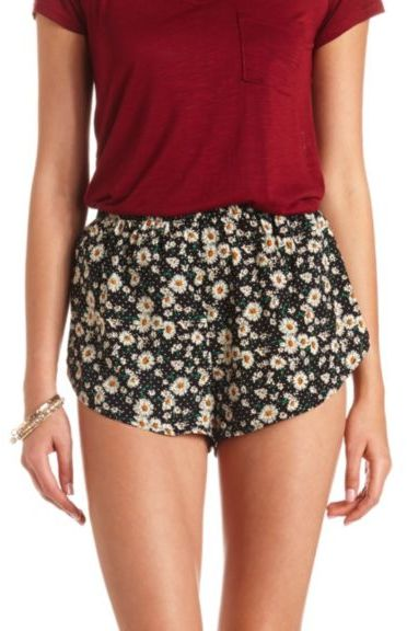 Charlotte Russe Daisy Print High Waisted Dolphin Shorts | Where to ...