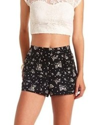 Charlotte Russe Floral Print High Waisted Shorts
