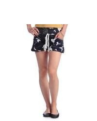 Institute Liberal Black And White Bird Print Elastic Waist Shorts With Epoulette Tabs