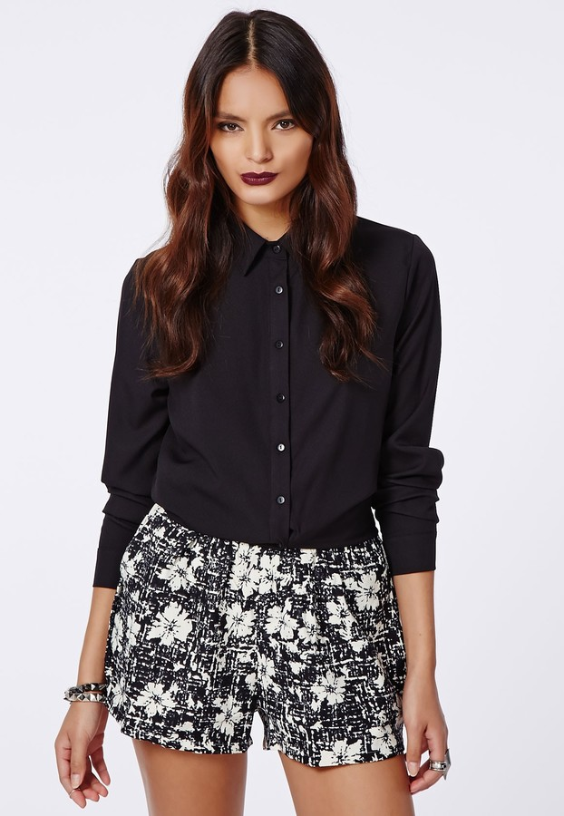 Missguided Becci Floral Check Floaty Shorts Black | Where to buy ...