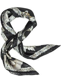 Black and White Floral Silk Scarf