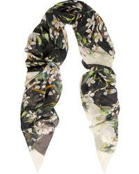 Dolce & Gabbana Floral Print Silk Chiffon Scarf