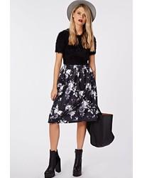 Missguided Sophriona Blurred Floral Print Full Midi Skirt Black