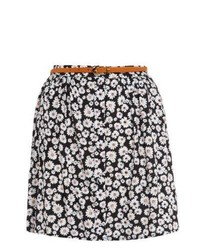 New Look Black Daisy Print Belted Skater Skirt