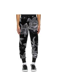 Givenchy Black Velvet Floral Schematics Lounge Pants