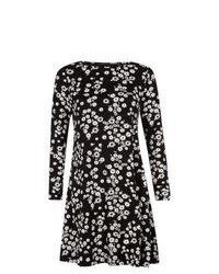 New Look Black Daisy Print Swing Dress