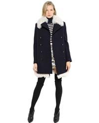 Sonia Rykiel Shearling Boiled Wool Coat