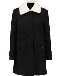 Maje Faux Shearling Trimmed Wool Blend Coat