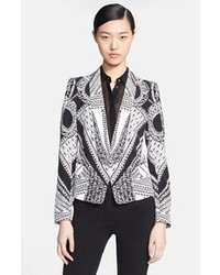 Print silk blazer medium 40921